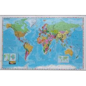 Verdenskort 137x89cm - lamineret og ridsefast