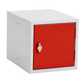 Opbevaringsboks, 270x350x270, Cylinderlås, Grå/Rød