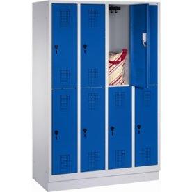 CP garderobeskab, 4x2 rum, Sokkel,Hængelås,Grå/Blå