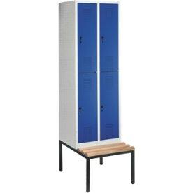 CP garderobeskab, 2x2 rum, Bænk,Hængelås, Grå/Blå