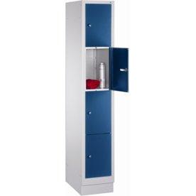 CP garderobeskab,1x4rum,Sokkel,Cylinderlås,Grå/Blå