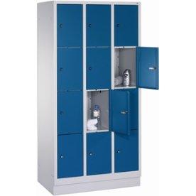 CP garderobeskab,3x4rum,Sokkel,Cylinderlås,Grå/Blå