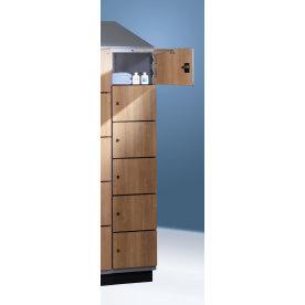 CP garderobeskab,1x5 rum, Ben, Cylinderlås,Grå/Blå