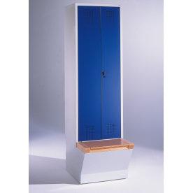 CP garderobeskab,1x(1x2) rum,Boks,Hængelås,Grå/Blå
