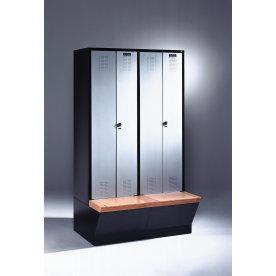 CP garderobeskab,2x(1x2)rum,Boks,Hængelås,Grå/Blå