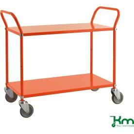 Rullebord 2 hylder, 1070x450x940, 250 kg, Orange