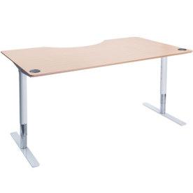 Flex hæve/sænkebord hvid/bøg 180 cm, centerbue