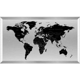 Verdenskort med alu ramme H60xB120 cm