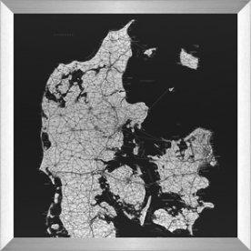 Danmarkskort aluramme H90xB90 cm