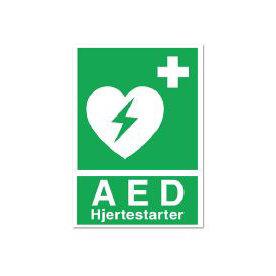Hjertestarter infoskilt (DK), 210x148 mm