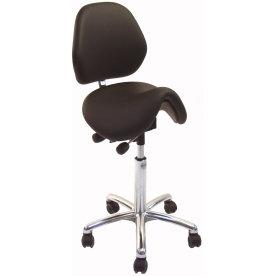 CL Dalton sadelstol m/ ryglæn, sort, kunstlæder