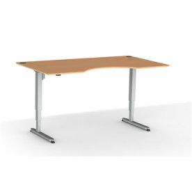 Stay hæve/sænkebord m/centerbue i bøg/alu