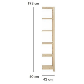 ABC Tilbygningsreol, HxBxD: 198x42x40 cm, natur