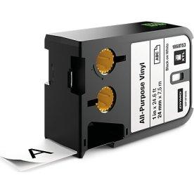 Dymo XTL, vinyltape, 24 mm, sort på hvid