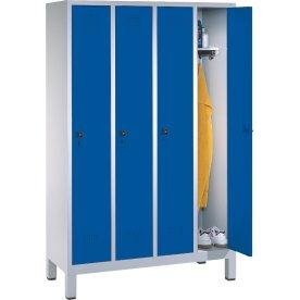 CP garderobeskab, 4x1 rum, Ben, Hængelås, Grå/Blå