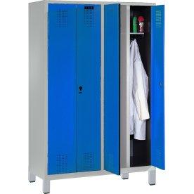 CP garderobeskab,2x(1x2) rum,Bænk,Hængelås,Grå/Blå