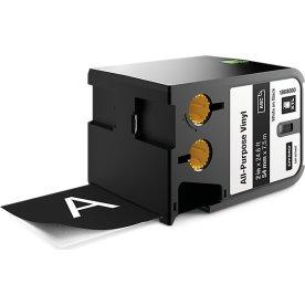 Dymo XTL, vinyltape, 54 mm, hvid på sort