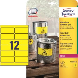 Avery stærke etiketter L6107-20, gule 99,1x42,3mm