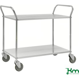 Rullebord 2 hylder, 1070x585x940 mm, 250kg, stål