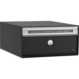 Allux PC1 Systempostkasse, sort stål, front