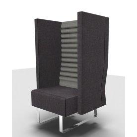 Mr. Box høj lænestol grå med sølvfarvet stel