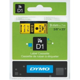Dymo D1 labeltape 6mm, sort på gul