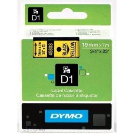 Dymo D1 labeltape 19mm, sort på gul