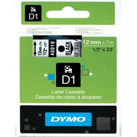 Dymo D1 labeltape 12mm, sort på klar