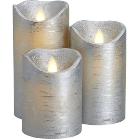 Sara LED vokslys, Sølv, 3 stk.