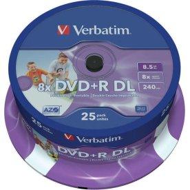 Verbatim DVD+R 8,5GB 8x dual layer spindel, 25 stk