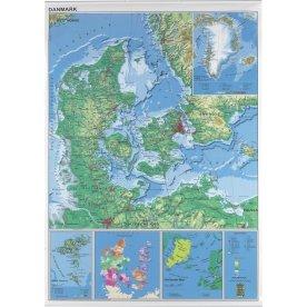 Danmarkskort 97x137cm - lamineret og ridsefast