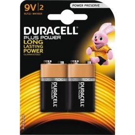 Duracell Plus Power 9V-batterier, pk. m. 2 stk.