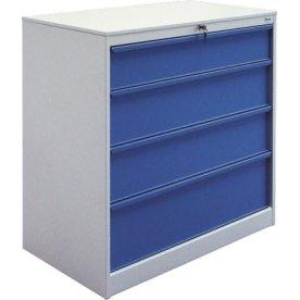 Skuffeskab 4 skuffer, 105,1x100x58,5 cm, Grå/Blå