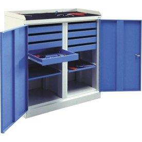 Arbejdsskab 2 døre, 109x100x43,5 cm, Grå/blå