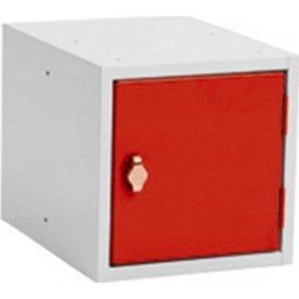 Opbevaringsboks, 200x150x150, Cylinderlås, Grå/Rød