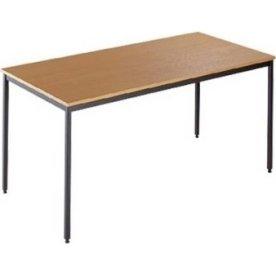 Kantinebord, 160x80 cm, bøg med sort stel