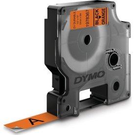 Dymo D1 Durable labeltape 12mm, sort på orange