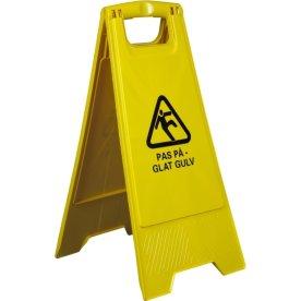 "Advarselsskilt, ""Pas På - Glat gulv"", 2-sidet, gul"
