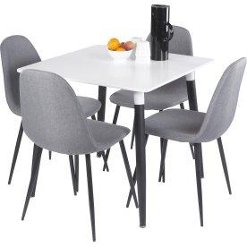 Prime kantinebord 160x80 cm hvid/sølvfarvet