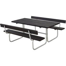 Plus Classic bord-bænkesæt m. ryglæn, Sort