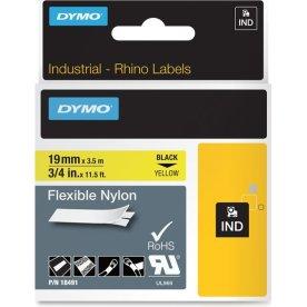 Dymo Rhino Fleksibel Nylon 19mm, sort på gul