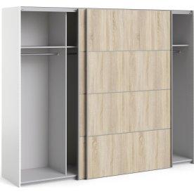 Garderobeskab m. skydedøre, Eg/Hvid, B 242,7 cm