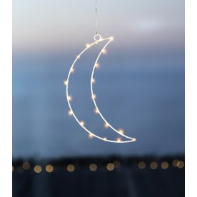 Liva Måne, 20 LED lys, Hvid, H 31 cm