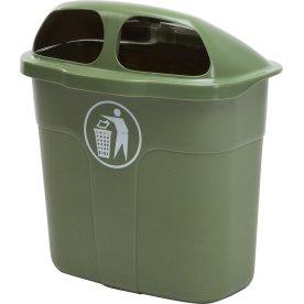 Affaldsbeholder i grøn, 40 liter - Udendørs