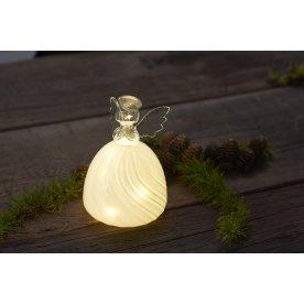Heaven Engel, Hvidt glas, 10 LED lys