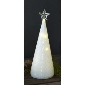 Heaven træ, Lille, Hvidt glas, 10 LED lys, H 22 cm