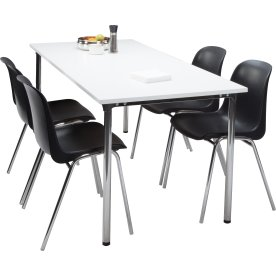 Lena Basic kantinesæt m/4 sorte stole og bord