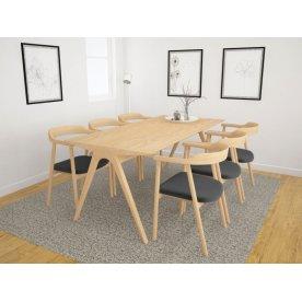 NOFU Mødebordssæt, Massivt asketræ natur m/6 stole