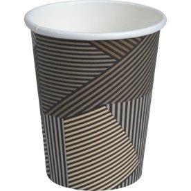 Kaffebæger 36 cl, pap, brun med striber