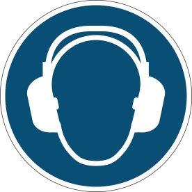 Advarselsklistermærke, anvend hørebeskyttelse, blå
